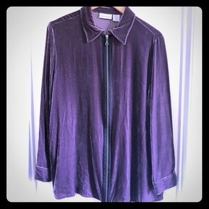 Soft Surroundings Silk Blend Purple Jacket Shirt